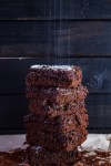 Keto Brownies Stack with Swerve Confectioner's on top