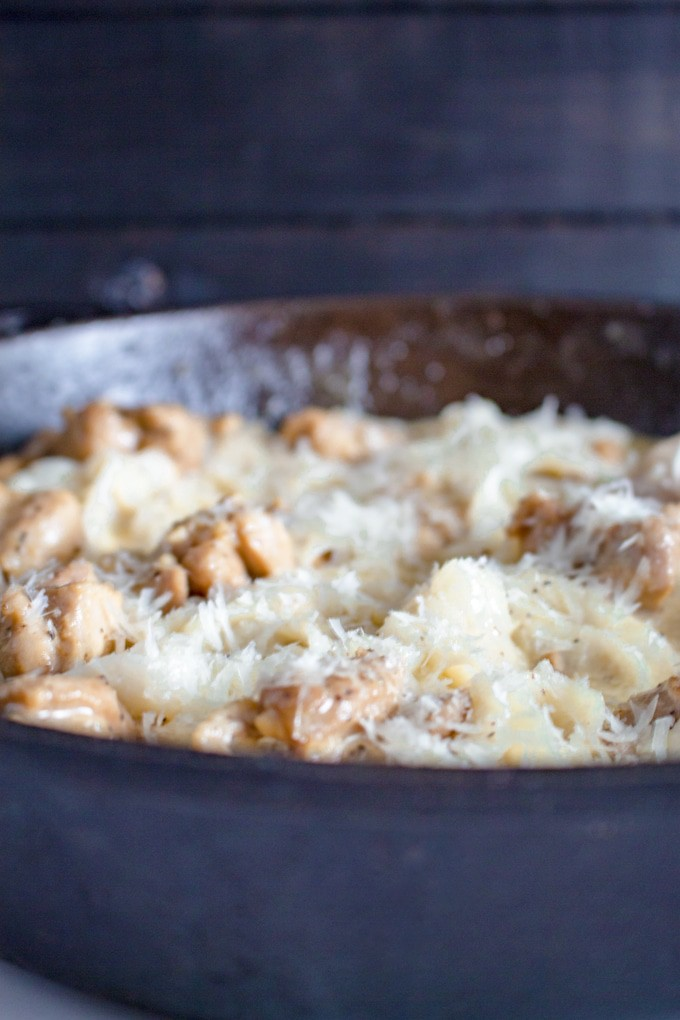 One Pan Keto Chicken Fettucine Alfredo Gluten Free Low Carb
