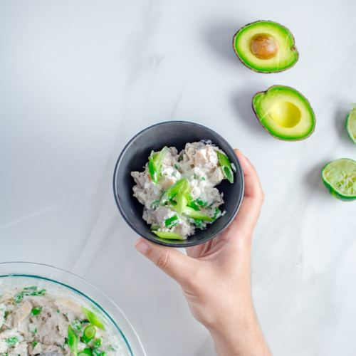 Keto Chicken Salad | BBQ Grilled Keto Chicken Salad, served with a fresh lime & sour cream dressing and topped with fresh & crunchy green onions.