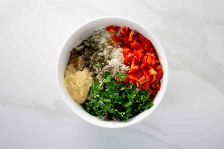 Chicken Salad ingredients in a large white bowl