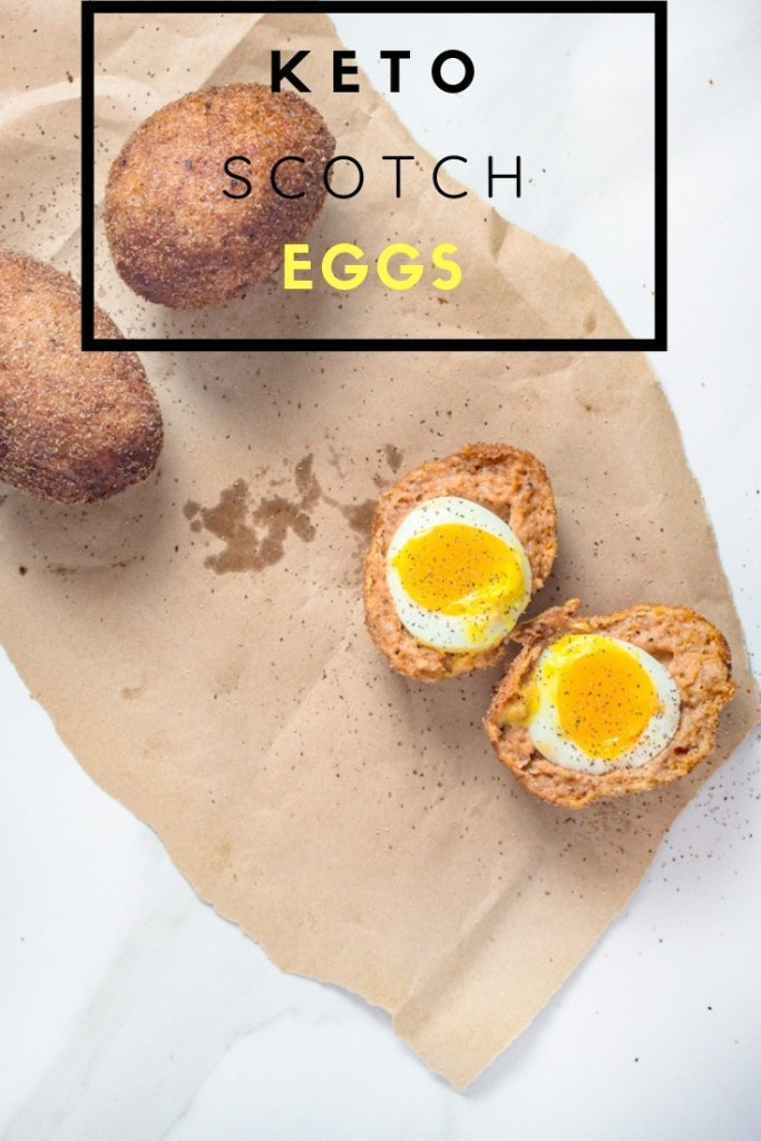 Keto Scotch Eggs on Brown Paper