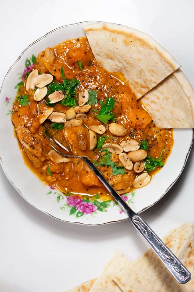 West African Peanut Stew served with naan