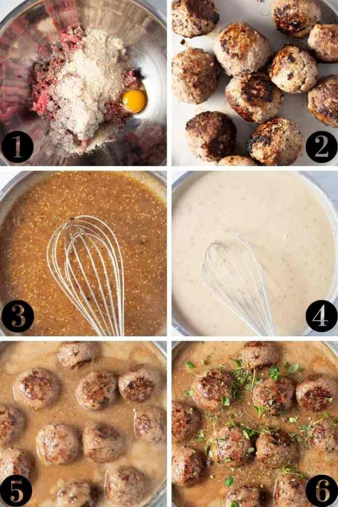 Whole30 Swedish Meatballs set by step collage