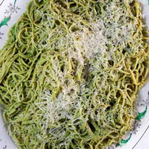 Spaghetti & Walnut Pesto on a serving platter