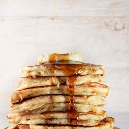 Soudough Pancakes Served with Butter and Maple Syrup