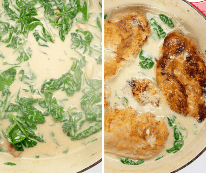 Cooked spinach and seared chicken breasts in a creamy sauce