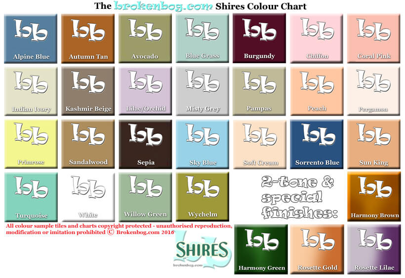 Bathroom colourchart Shires