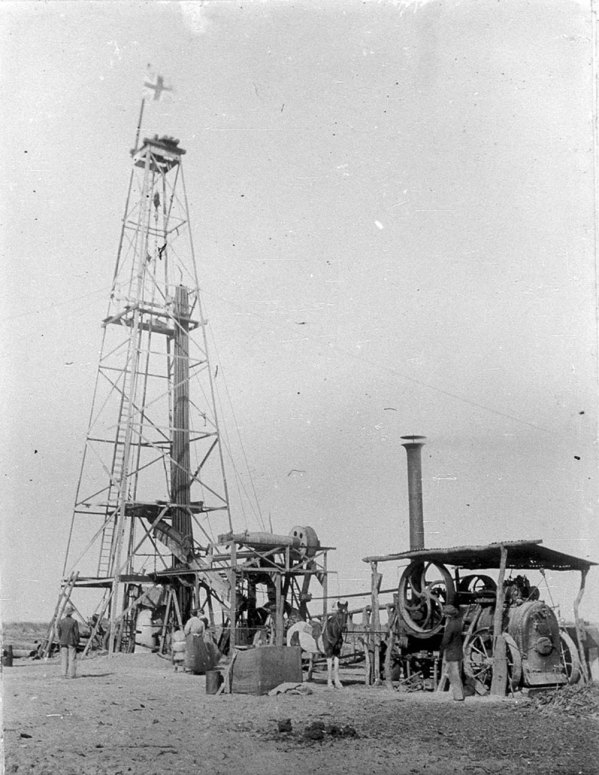 James Benson. 'Sinking artesian bore - Wanaaring, NSW', (c. 1900). At Work and Play - images of rural life in NSW 1880-1940. State Library of New South Wales, bcp_03630.