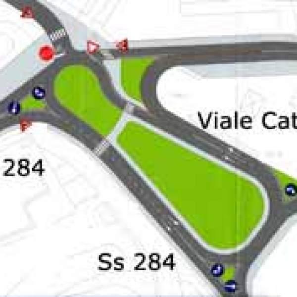 La nuova rotonda di viale Catania