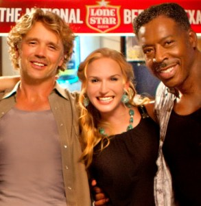 "Ernie with his ""Doonby"" co-stars John Schneider and Jenn Gotzon"