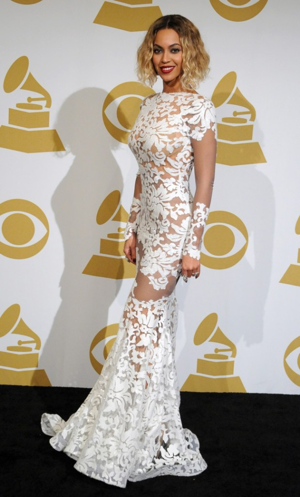 Beyonce in sheer lace dress