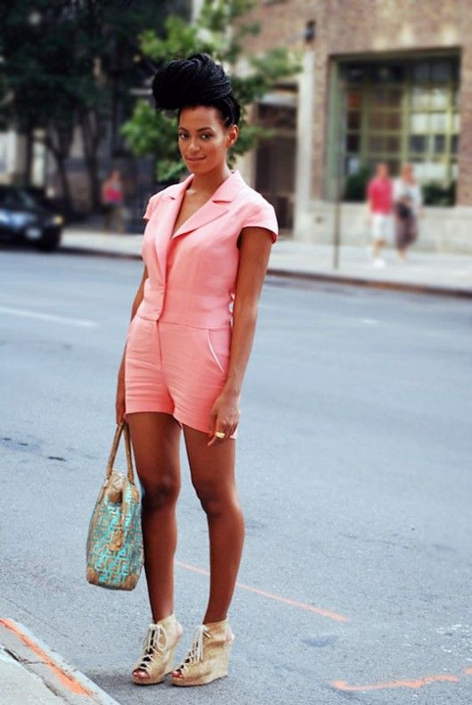 Solange in pink playsuit