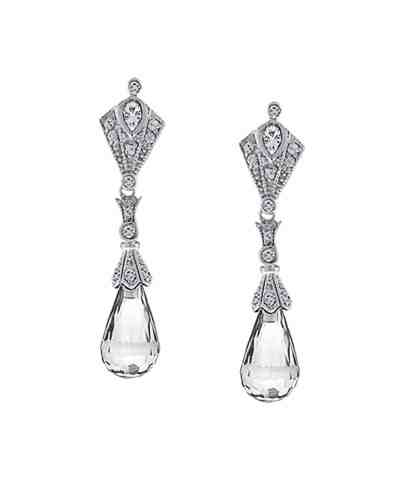 Bluefly- Clear Crystal Briolette Earrings