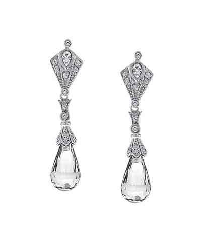 Bluefly- Clear Crystal Briolette Earrings