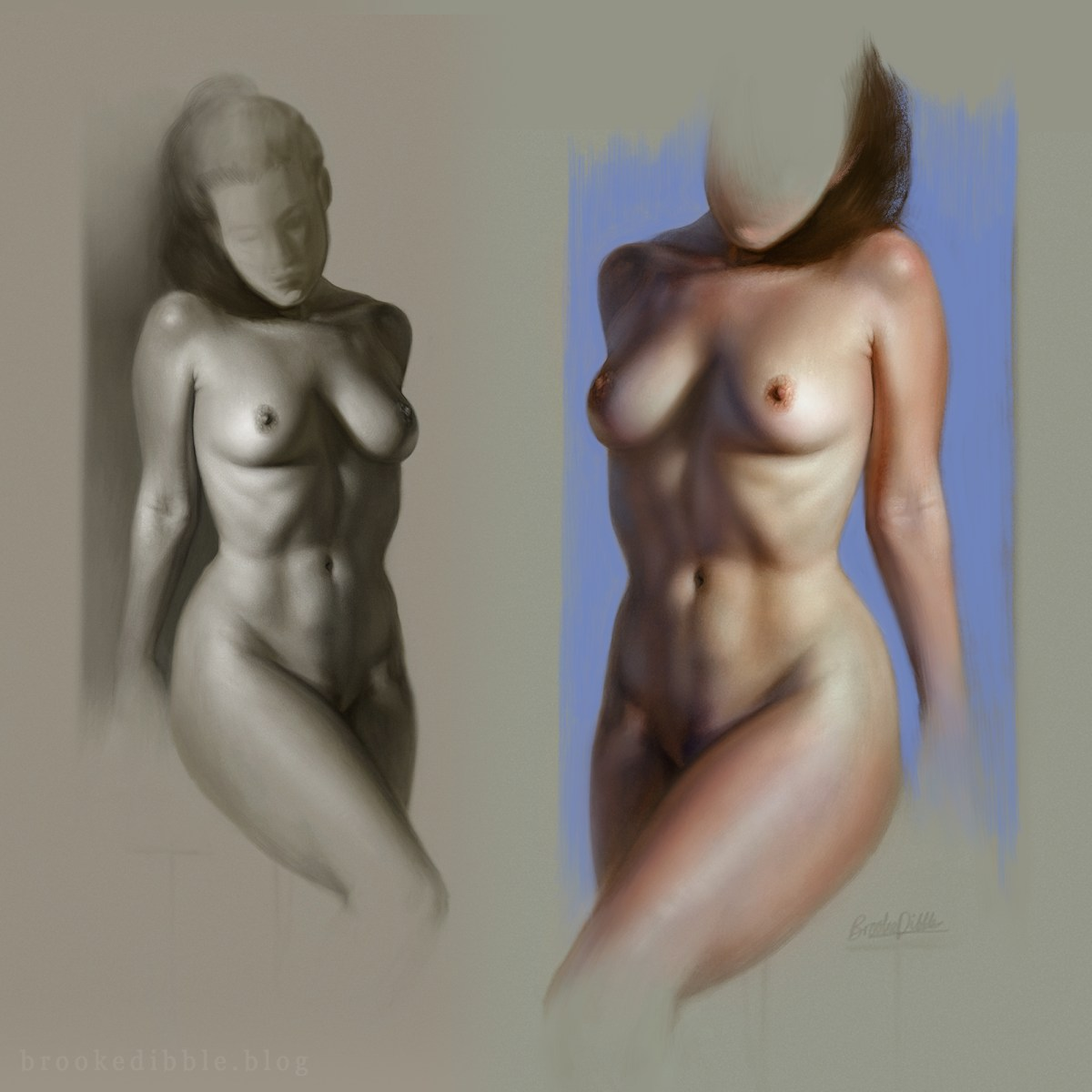 Female figure study - drawing and colour test