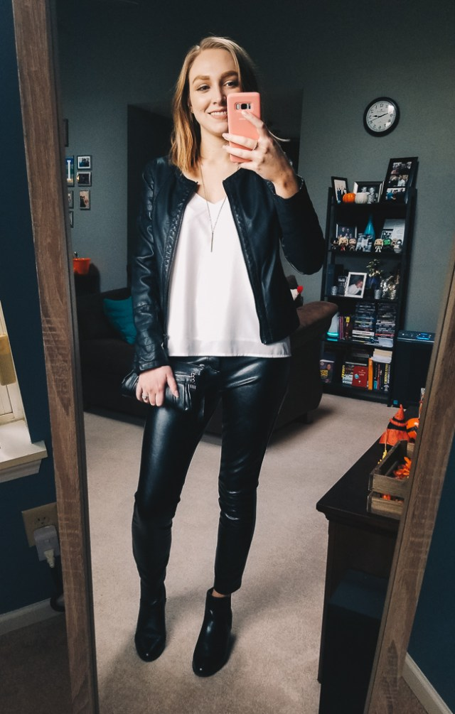 a229b5a6205990 women's fall outfit faux leather pants leggings black leather jacket white  camisole