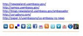 The bottom of the email signature block used by the U.S. Embassy in New Zealand, showing many ways to engage with them.