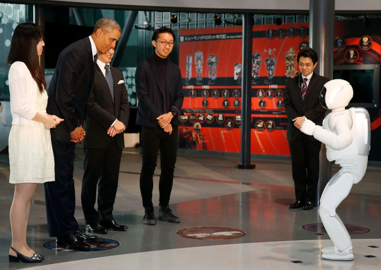 "President Obama with ""Asimo"" the robot"