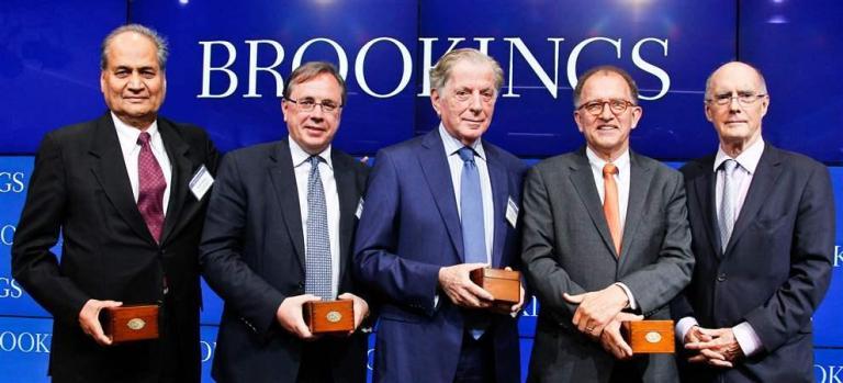 Founding Members of the International Advisory Council Rahul Bajaj, Philip Mallinckrodt, Itamar Rabinovich, and Antoine van Agtmael, with Strobe Talbott