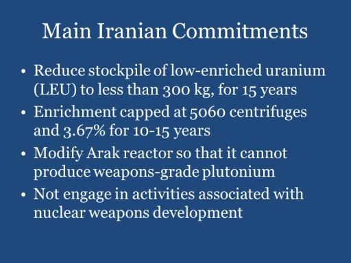 Main Iranian Commitments