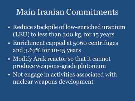 Main Iranian Commitments