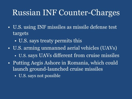 Russian INF Counter-Charges