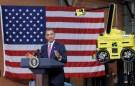 REUTERS/Jason Reed - Barack Obama speaks after touring Carnegie Mellon University's National Robotics Engineering Center, June 24, 2011.