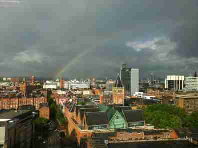 FLICKR/Stacey MacNaught - Rainbow over Manchester, UK City Centre, March, 19, 2013.