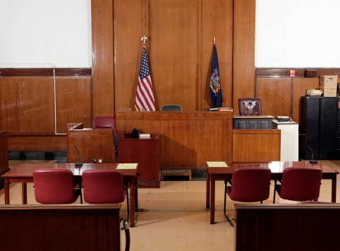 An empty courtroom in New York City