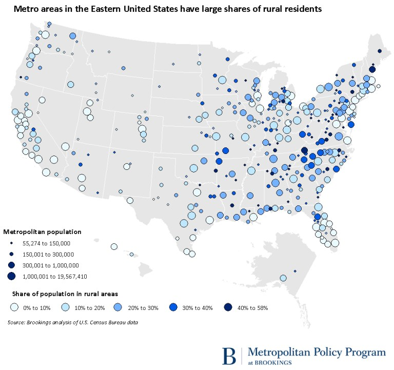 Metro areas in the Eastern United States have large shares of rural residents