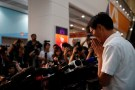REUTERS/Tyrone Siu - Eddie Chu Hoi-dick after winning a seat in the Legislative Council election