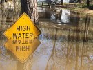 REUTERS/Therese Apel - A high water sign is submerged near Lake Bistineau in Webster Parish, Louisiana March 14, 2016. The death toll from storms in Southern U.S. states rose to five as storm-weary residents of Louisiana and Mississippi watched for more flooding on Monday from drenching rains that inundated homes, washed out roads and prompted thousands of rescues.