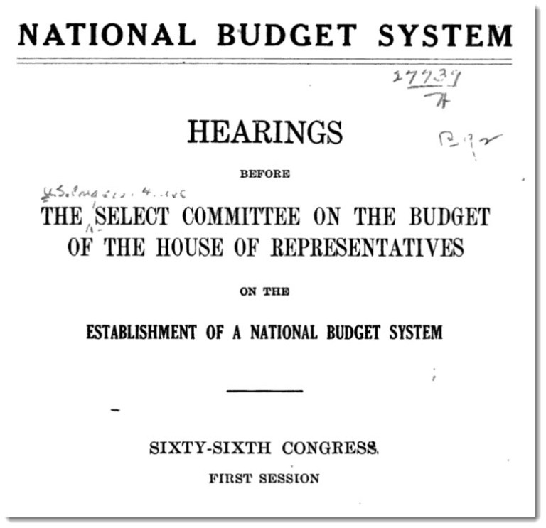 Cover of a congressional hearings document on the national budget system, 1921