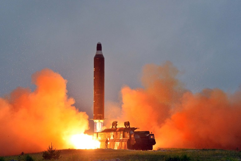 A test launch of ground-to-ground medium long-range ballistic rocket Hwasong-10 in this undated photo released by North Korea's Korean Central News Agency (KCNA) on June 23, 2016. REUTERS/KCNA ATTENTION EDITORS - THIS PICTURE WAS PROVIDED BY A THIRD PARTY. REUTERS IS UNABLE TO INDEPENDENTLY VERIFY THE AUTHENTICITY, CONTENT, LOCATION OR DATE OF THIS IMAGE. FOR EDITORIAL USE ONLY. NOT FOR SALE FOR MARKETING OR ADVERTISING CAMPAIGNS. NO THIRD PARTY SALES. NOT FOR USE BY REUTERS THIRD PARTY DISTRIBUTORS. SOUTH KOREA OUT. NO COMMERCIAL OR EDITORIAL SALES IN SOUTH KOREA. THIS PICTURE IS DISTRIBUTED EXACTLY AS RECEIVED BY REUTERS, AS A SERVICE TO CLIENTS. TPX IMAGES OF THE DAY - RTX2HQYT