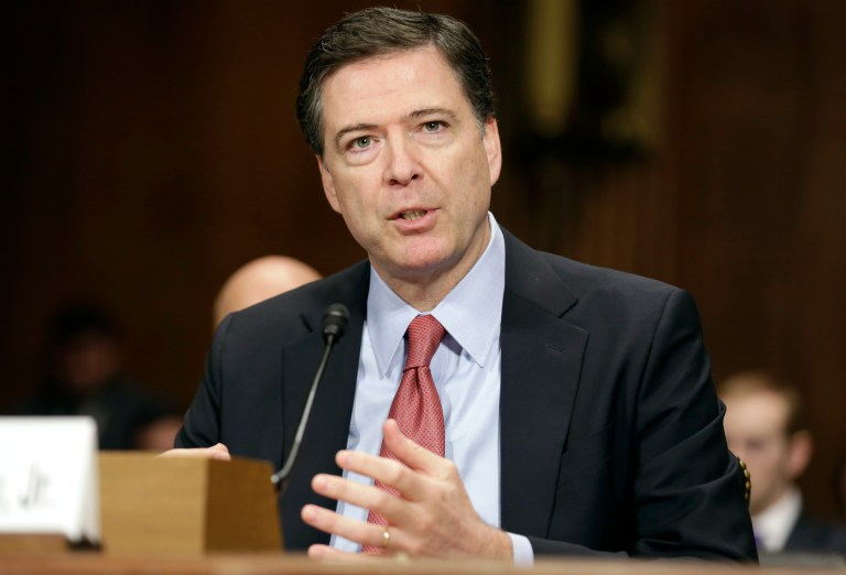 FBI Director James Comey Jr. testifies at a Senate Judiciary Committee hearing on Capitol Hill
