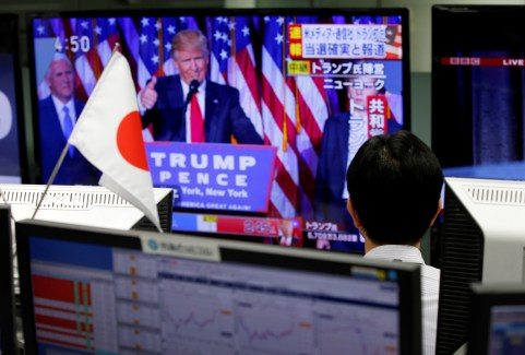 An employee of a foreign exchange trading company looks at a monitor showing U.S. President-elect Donald Trump speaking on TV news in Tokyo, Japan, November 9, 2016. REUTERS/Toru Hanai - RTX2SQFJ