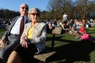 An old couple enjoys the sun on a warm day in Brussels March 9, 2014.       REUTERS/Eric Vidal (BELGIUM  - Tags: SOCIETY) - RTR3GBYB