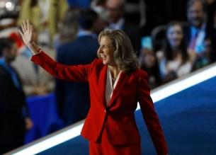 U.S. Senate Candidate Katie McGinty (D-PA) waves before addressing the Democratic National Convention in Philadelphia, Pennsylvania, U.S. July 28, 2016. REUTERS/Scott Audette - RTSK5SZ