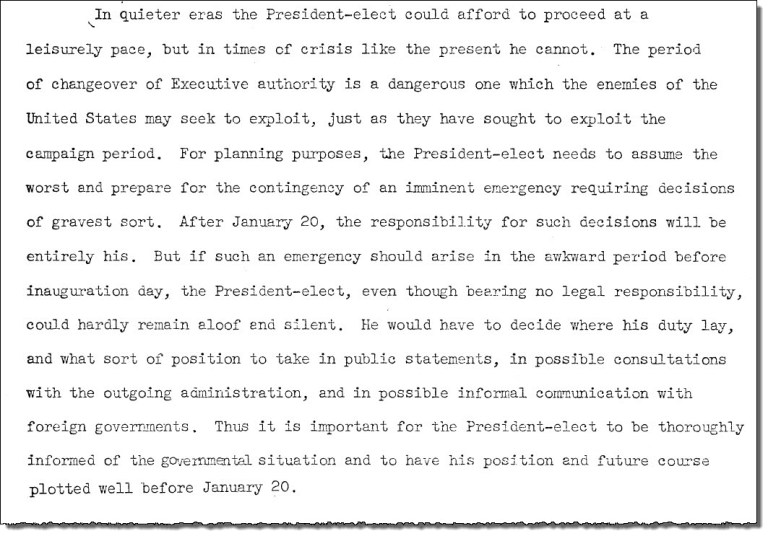 Excerpt from presidential transition memo