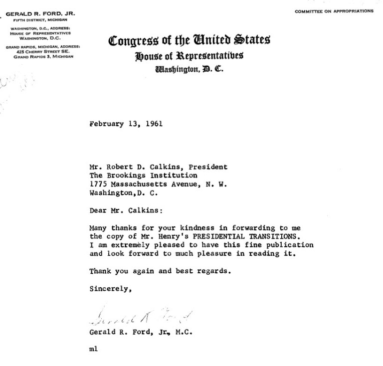 Letter from Gerald R. Ford to Robert Calkins, February 13, 1961