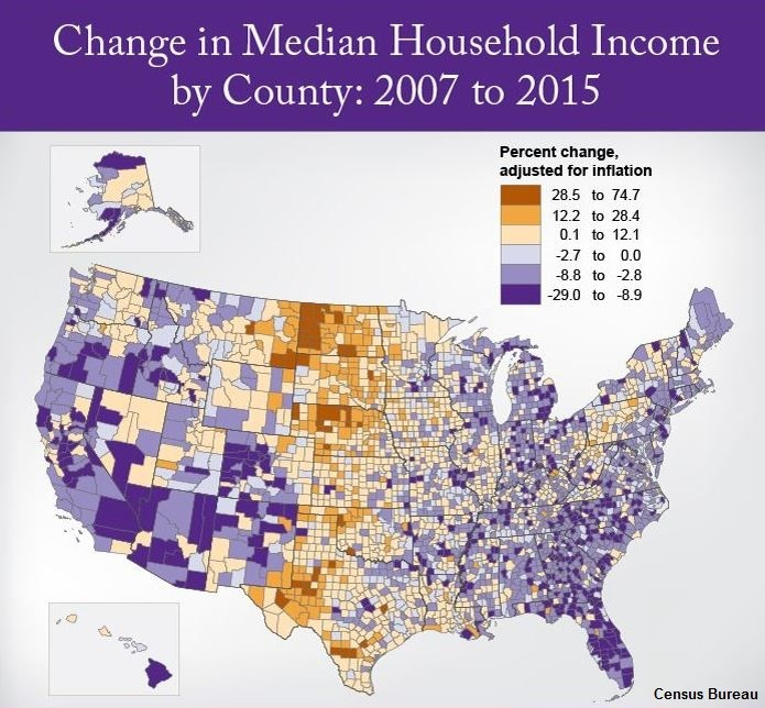 A map of the U.S. shows the change in media household income by county from 2007 to 2015.