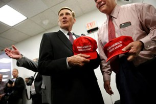 "REUTERS/Jonathan Ernst - U.S. Representatives John Mica (R-FL) and Pete Sessions (R-TX) show off their ""Make America Great Again"" hats, illustrating Donald Trump's support among the majority party in Congress."