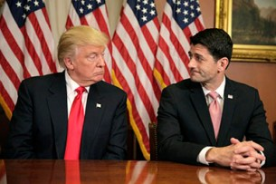 REUTERS/Joshua Roberts - President Donald Trump and Speaker of the House Paul Ryan (R-WI) meet at the U.S. Capitol. The relationship between Trump and Ryan may serve as one indicator of the health of the Republican party.