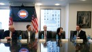 U.S. President-elect Donald Trump sits with PayPal co-founder and Facebook board member Peter Thiel, Apple Inc CEO Tim Cook, Oracle CEO Safra Catz and Tesla Chief Executive Elon Musk during a meeting with technology leaders at Trump Tower in New York U.S., December 14, 2016. REUTERS/Shannon Stapleton - RTX2V2DE