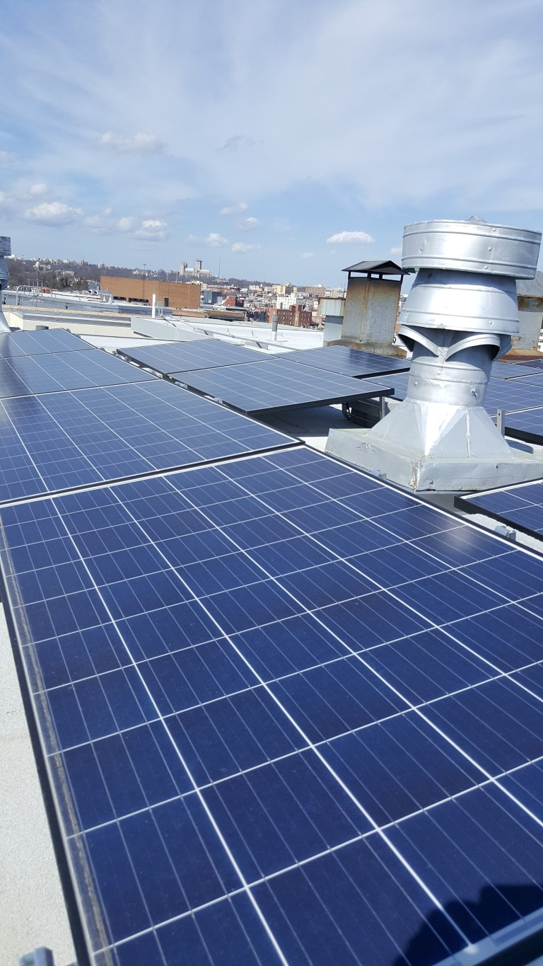 Solar panels on Brookings Institution's roof