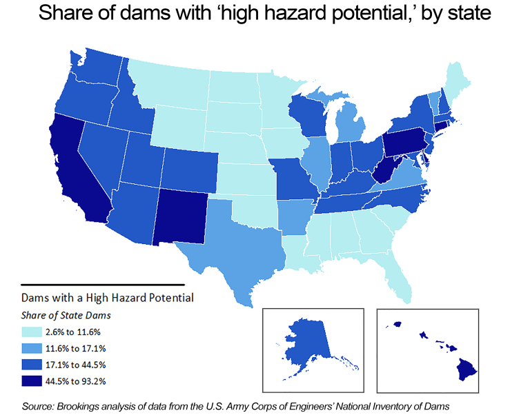 Share of Dams with a High Hazard Potential, By State