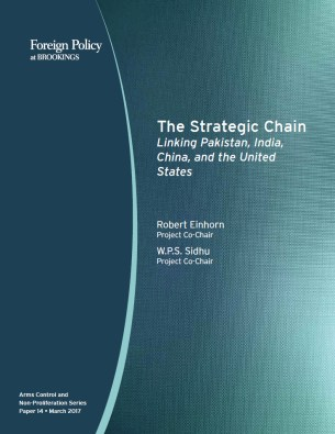 """The strategic chain: Linking Pakistan, India, China, and the United States"" report cover"