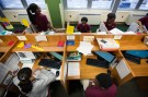 Newark Prep Charter School students sit at their desks studying at the school in Newark, New Jersey