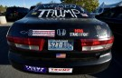 A decorated vehicle is seen in the parking lot before U.S. Republican presidential nominee Donald Trump speaks at a campaign rally in Henderson, Nevada October 5, 2016.  REUTERS/David Becker - RTSQX4K