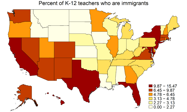 A U.S. map indicating each state's percentage of immigrant teachers. (Source: Dick Startz/IPUMS)